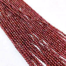 Natural Garnet 2-2.5mm round facet beads strand