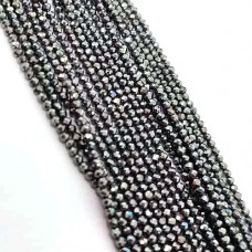Hematite 2-2.5mm round facet beads strand