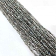 Natural Labradorite 2-2.5mm round facet beads strand
