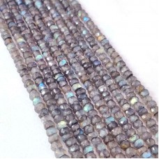 Labradorite 3.5-4 mm rondelle facet beads strand