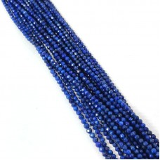 Natural Lapis 2-2.5mm round facet beads strand