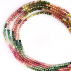 Multi Tourmaline 2-2.5mm round facet beads strand