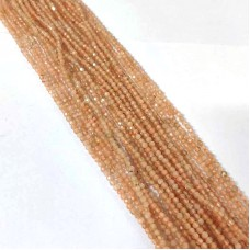 Peach Moonstone 2-2.5mm round facet beads strand
