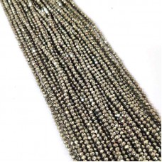 Natural Pyrite 2-2.5mm round facet beads strand
