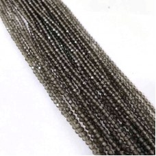 Natural Smoky Quartz 2-2.5mm round facet beads strand