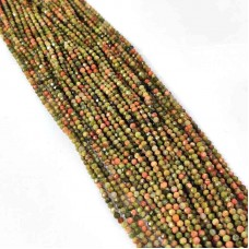 Unakite 2-2.5mm round facet beads strand