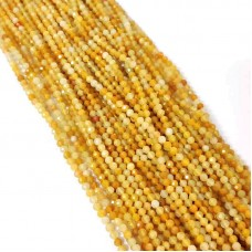 Yellow Opal 2-2.5mm round facet beads strand