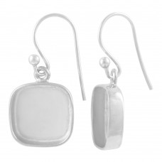 Cushion shape silver blank bezel cup casting earring for stone setting