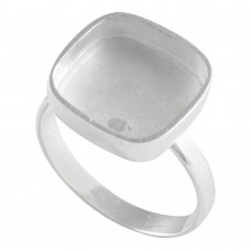 Cushion shape silver blank bezel cup casting ring for stone setting