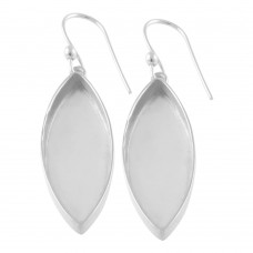 Marquise shape silver blank bezel cup casting earring for stone setting