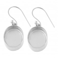 Oval shape silver blank bezel cup casting earring for stone setting