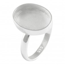 Oval shape silver blank bezel cup casting ring for stone setting