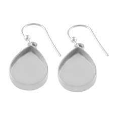 Pear shape silver blank bezel cup casting earring for stone setting