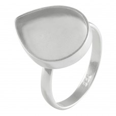 Pear shape silver blank bezel cup casting ring for stone setting