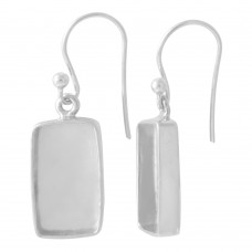 Rectangle shape silver blank bezel cup casting earring for stone setting