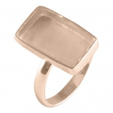 Rectangle shape silver blank bezel cup casting ring for stone setting