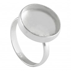 Round shape silver blank bezel cup casting ring for stone setting