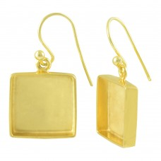 Square shape silver blank bezel cup casting earring for stone setting