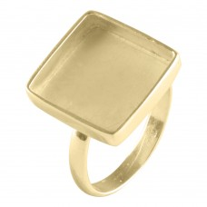 Square shape silver blank bezel cup casting ring for stone setting