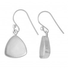 Trillion shape silver blank bezel cup casting earring for stone setting