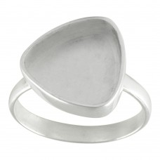 Trillion shape silver blank bezel cup casting ring for stone setting