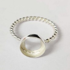 Round shape silver blank bezel cup casting ring twisted wire band for stone setting