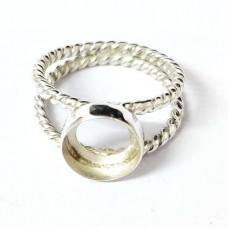 Round shape silver blank bezel cup casting ring twisted wire double band for stone setting