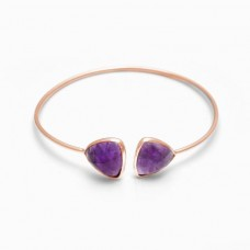 Natural Amethyst Trillion Gemstone Bezel Bracelet