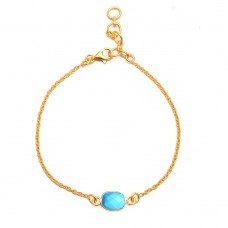 Turquoise rectangle silver bezel bracelet