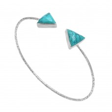 Turquoise triangle adjustable silver bracelet
