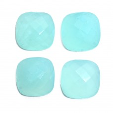 Aqua chalcedony cushion rose cut flat back gemstone