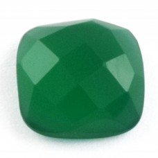 Green onyx cushion rosecut flat back gemstone