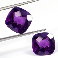 Amethyst cushion checker cut 11x11mm facet 10.5 cts