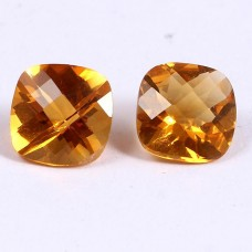 Citrine cushion checker cut shape  8x8mm facet 3.70 cts