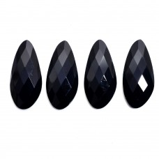 Black onyx 32x15mm fancy rose cut flat back gemstone