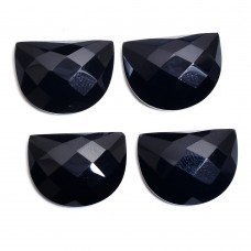 Black onyx 20x15mm D shape rose cut flat back gemstone