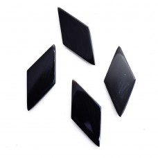 Black onyx rhombus rose cut flat back gemstone