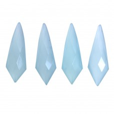 Aqua chalcedony fancy rose cut flat back gemstone
