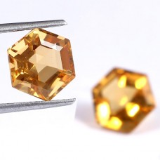 Natural citrine fancy diamond cut 9x9mm facet 6 cts