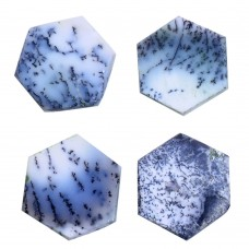 Dendritic opal 18x18mm hexagon rose cut flat back