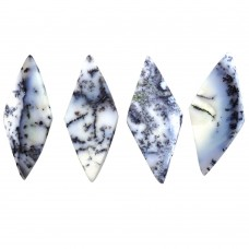 Dendritic opal rhombus rose cut flat back