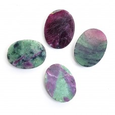 Ruby zoisite 22x17mm oval uneven rose cut flat back