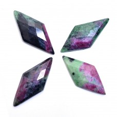 Ruby zoisite 35x15mm rhombus rose cut flat back 17.5 ct Gemstone