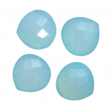 Aqua chalcedony heart shape rose cut flat back gemstone