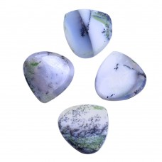 Dendritic opal heart shape rose cut flat back