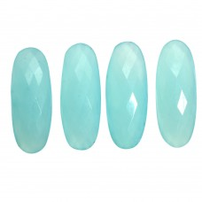 Aqua chalcedony oval rose cut flat back gemstone