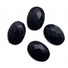Black onyx oval rose cut flat back gemstone