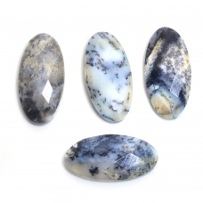 Dendritic opal oval rose cut flat back
