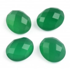 Green onyx oval rosecut flat back gemstone