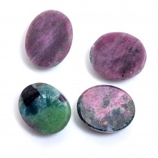 Ruby zoisite oval rose cut flat back
